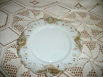 Antique Chic Milk Glass Cherub Plate Victorian Shabby Hint Of Gold