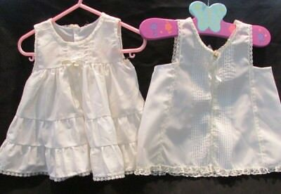 2 Vintage Her Majesty Girls Slips Petticoats Size 18 Mos Frilly Pintucked Lacey