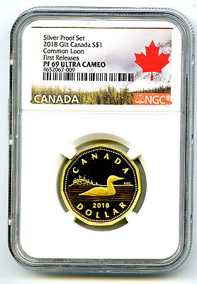 2018 Canada Silver Proof Loonie Dollar Ngc Pf69 Ucam Gilt Loon First Releases