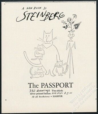 1954 Saul Steinberg cat family art The Passport book release vintage print ad