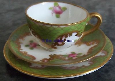 CROWN STAFFORDSHIRE porcelain MINIATURE PINK ROSES CUP SAUCER PLATE TRIO 3063