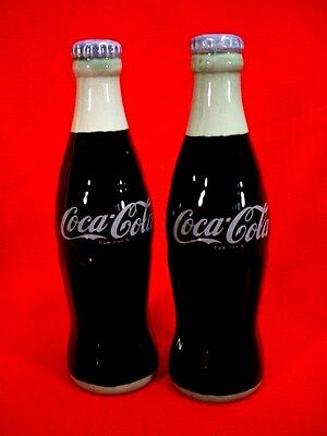 Coca-Cola Ceramic Bottle Salt & Pepper Shakers - Never Used - In Box - 1994