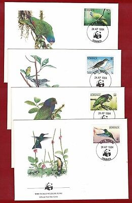 1984 Dominica WWF Endangered Species Set SG 870/3 four FDC or FU