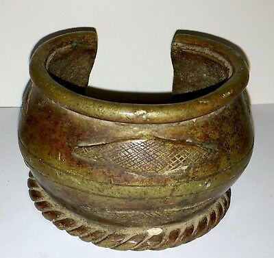 Beautiful Old African Bronze Currency Bracelet - Amazing Design  (#6)