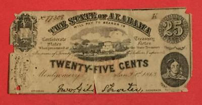 """1863 US Alabama Fractional Currency """"TWENTY FIVE CENTS"""" Rough! Currency"""
