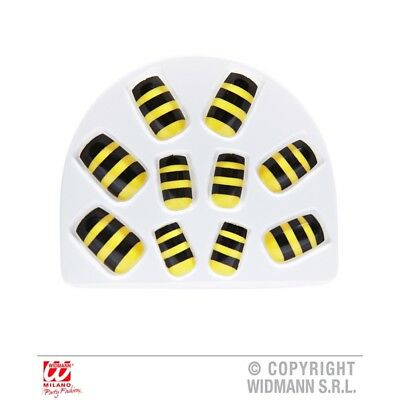 Set Of 10 Bumble Bee Fake Nails - Accessory Makeup Stage