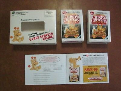 Crispy  Critters Sample Size   Cereal Boxes 2 in mailing Box