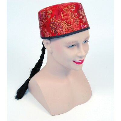 Red Chinese Mandarin Hat & Plait - Fabric Fancy Dress Fabric Fabric Oriental