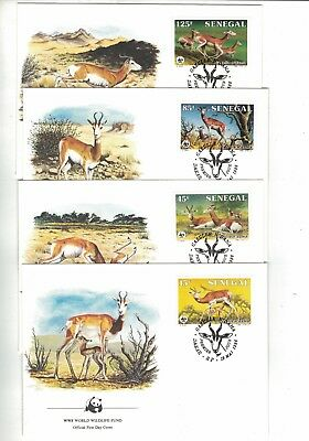 1986 Senegal WWF Endangered Species SG 848/51 set four FDC or FU