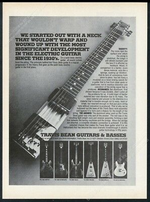1977 Travis Bean TB 1000 2000 4000 3000 500 guitar 7 photo vintage print ad