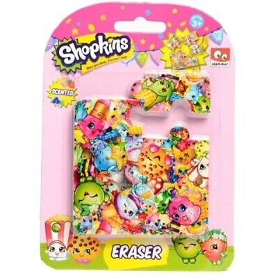 Shopkins Stationary Puzzle Eraser On Blister Card - 6 Piece Erasers School