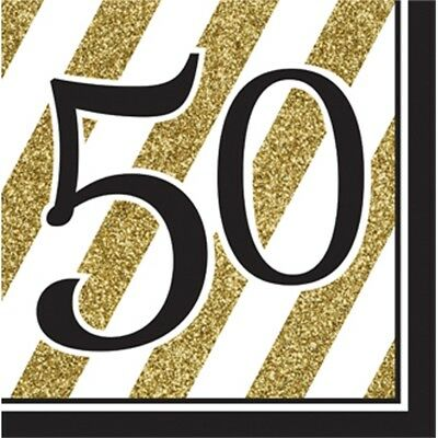 64 32 HAPPY BIRTHDAY BLACK AND GOLD LUNCH NAPKIN 2 PLY SERVIETTE IN 16