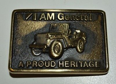 Vintage US Army JEEP AM General Solid Brass Belt Buckle Rare BTS MINTY