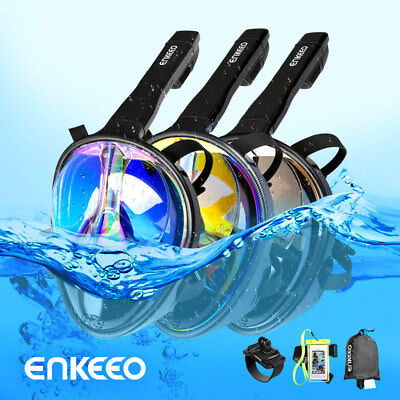 180° View Full Face Snorkel Mask Anti-Fog Scuba Diving Snorkelling Set For GoPro
