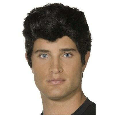 Smiffys Danny Wig - Black - Fancy Dress Grease 50s Official Costume Mens