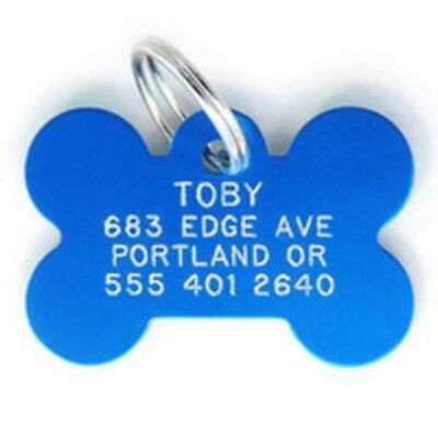Customized Dog Cat Tag Identification Metal Engraved Pet ID GIft Blue Bone