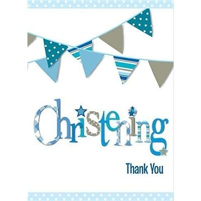 Blue Bunting Christening Thank You Notes, Pack Of 8 - Party Notes Tableware Boy