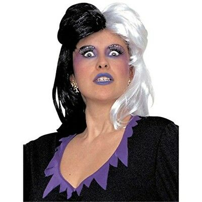 Ladies Cruella Black And White Wig For Fancy Dress Costumes & Outfits Accessory
