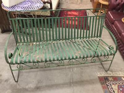 E11007 Vintage Wrought Iron Green Painted Garden Bench Benchseat Seat
