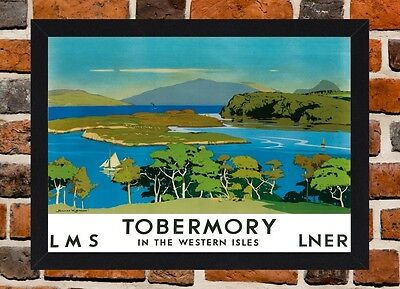 Framed Tobermory Isle Of Mull Travel Poster A4 / A3 Size In Black / White Frame