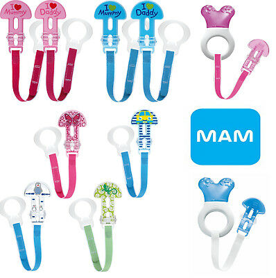 Baby Soother Dummy Teat Cover Holder Clip Chain MAM New