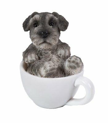 Cutie Grey Schnauzer Puppy Dog Teacup Pet Pal Mini Figurine Statue