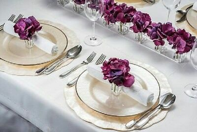 4 x Acrylic Clear Napkin Ring Serviette Holders/Vase With Flower - Table Decor