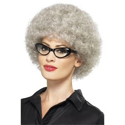 Grey Granny Perm Wig - Fancy Dress Old Lady Costume Adult Afro Smiffys New