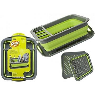 Summit Pop Dish Drainer - Up Non Slip Tray Greengrey Camping Caravan Rack