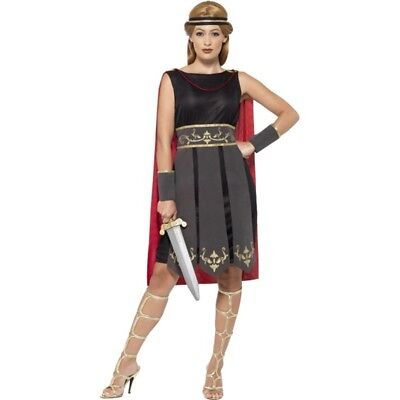 Uk 4-6 Black Ladies Roman Warrior Costume - Fancy Dress Gladiator Womens Outfit