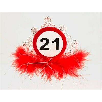 Traffic Sign 21st Tiara With Feathers - Birthday Hat