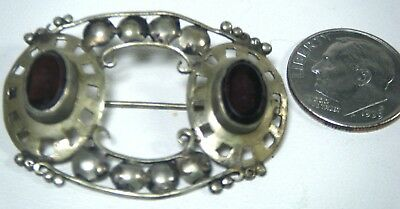 Arts Crafts Movement Hand Wrought Sterling Garnet Pin  # 2 Of 3