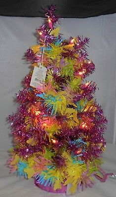 """Pink Christmas Tree w/Garland-24"""" Pre-lit Artificial Holiday-Easter-Tabletop 2'"""