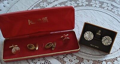 3 x pairs of mens Cufflinks inc. 22ct gold Plated, Vintage Chain Dog & Stratton