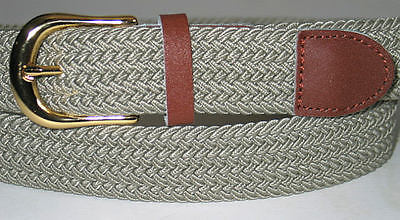 "Mens KHAKI S 30""-32"" Braided Elastic Stretch Belt GOLD Metal Buckle Leather"