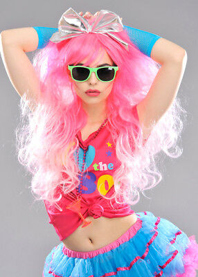 Womens Deluxe Big Pink 1980s Wig DOES NOT INCLUDE BOW