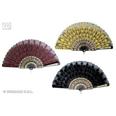3 Assorted Colour Lace Fan - Hand Victorian 1 Colours Accessory 18th Century