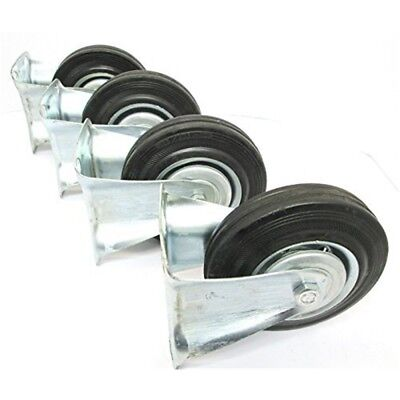 """5"""" (125mm) Rubber Fixed Castor Wheels Trolley Furniture Caster (4 Pack) Rm011 -"""