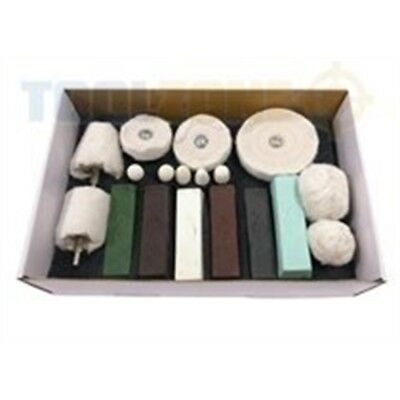 18pc Polishing Buffing Kit Aluminium, Steel, Brass, Plastic - Aluminium Steel