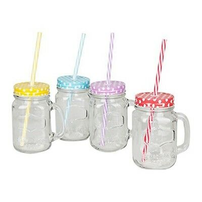 b452de14c2d Mason Glass Jam Jar Drinking Mug With Plastic Straw   Lid - Clear Novelty