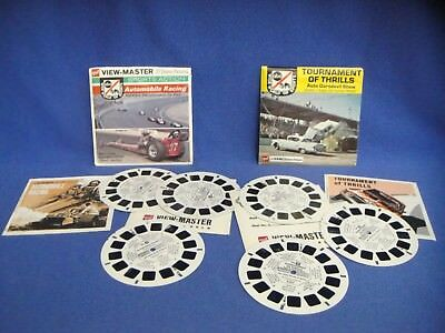Lot of 2 Vintage Viewmaster Reels & Booklets Set Tournament Thrills Auto Racing