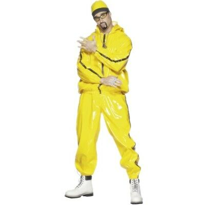 Rapper Suit - Fancy Dress Costume Mens Ali G Outfit Gangster Track 90s Yellow