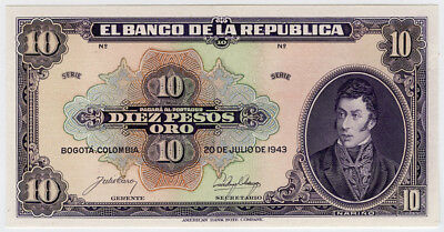 COLOMBIA 1943 ISSUE 10 PESOS ORO,RARE NOTE CRISP GEM-PROOF-UNC.PICK#389bp.