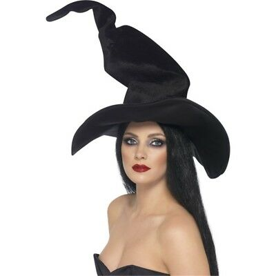 Black Velour Tall And Twisted Witch's Hat. - Hat Halloween Fancy Dress Witches