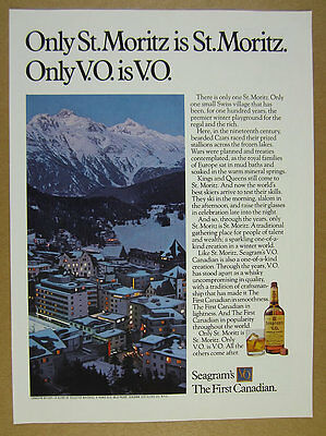 1974 st. moritz switzerland photo Seagram's V.O. VO Whiskey vintage print Ad