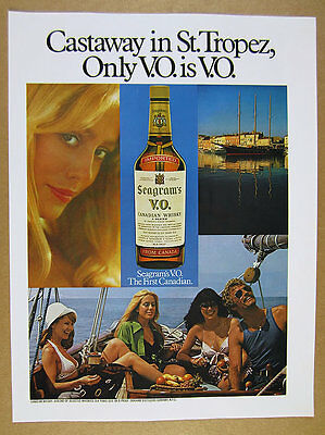 1975 St. Saint-Tropez photo Seagram's V.O. VO Whiskey vintage print Ad