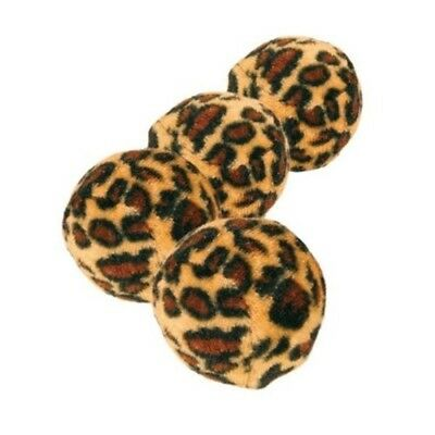 Trixie 4 Toy Balls With Leopard Print, 4 Centimetre - Print Cat Kitten Play New