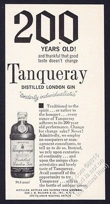 1962 Tanqueray Gin bottle photo '200 Years Old' vintage print ad
