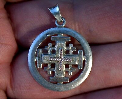 Beautiful vintage handmade sterling silver 14k gold jerusalem beautiful vintage handmade sterling silver 14k gold jerusalem cross pendant aloadofball Images