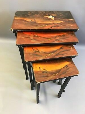 Quartetto Nest Antique Lacquered Oriental Japanese Chinese Tables